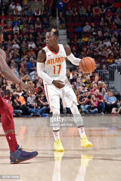 Dennis Schroder of the Atlanta Hawks handles the ball against the Cleveland Cavaliers on November 5 2017 at Quicken Loans Arena in Cleveland Ohio...