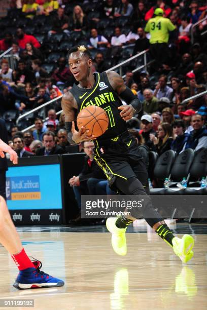 Dennis Schroder of the Atlanta Hawks handles the ball against the Washington Wizards on January 27 2018 at Philips Arena in Atlanta Georgia NOTE TO...