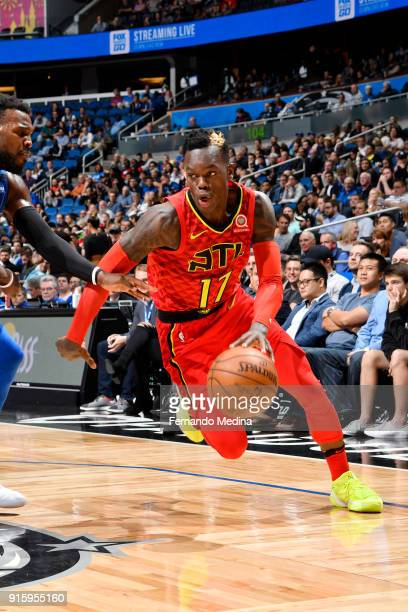 Dennis Schroder of the Atlanta Hawks handles the ball against the Orlando Magic on February 8 2018 at Amway Center in Orlando Florida NOTE TO USER...