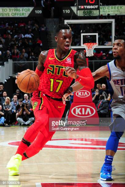 Dennis Schroder of the Atlanta Hawks handles the ball against the Detroit Pistons on February 11 2018 at Philips Arena in Atlanta Georgia NOTE TO...