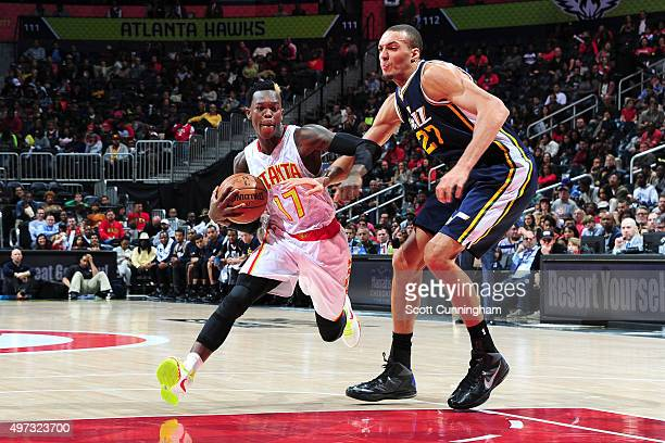 Dennis Schroder of the Atlanta Hawks handles the ball during the game on November 15 2015 at Philips Center in Atlanta Georgia NOTE TO USER User...