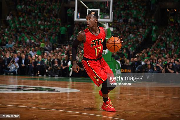Dennis Schroder of the Atlanta Hawks handles the ball during the game against the Boston Celtics in Game Six of the Eastern Conference Quarterfinals...