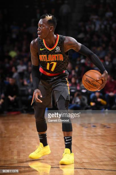 Dennis Schroder of the Atlanta Hawks handles the ball during the game against the Denver Nuggets on January 10 2018 at the Pepsi Center in Denver...