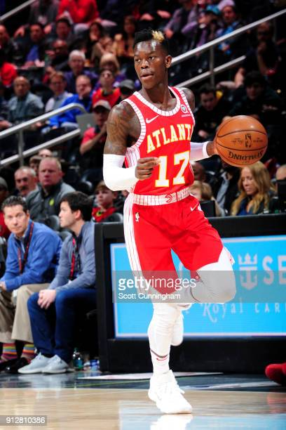 Dennis Schroder of the Atlanta Hawks handles the ball during the game against the Charlotte Hornets on January 31 2018 at Philips Arena in Atlanta...