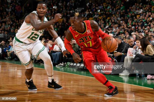 Dennis Schroder of the Atlanta Hawks handles the ball during the game against the Boston Celtics on February 2 2018 at the TD Garden in Boston...