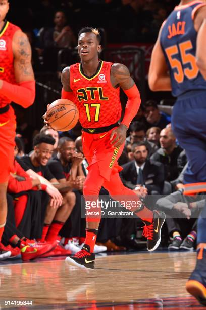Dennis Schroder of the Atlanta Hawks handles the ball during the game against the New York Knicks on February 4 2018 in New York City NY NOTE TO USER...