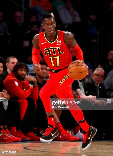 Dennis Schroder of the Atlanta Hawks leads a break in an NBA basketball game against the New York Knicks on February 4 2018 at Madison Square Garden...