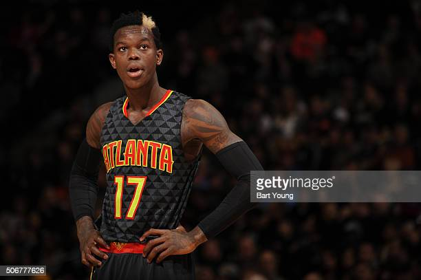 Dennis Schroder of the Atlanta Hawks looks on during the game against the Denver Nuggets on January 25 2016 at the Pepsi Center in Denver Colorado...
