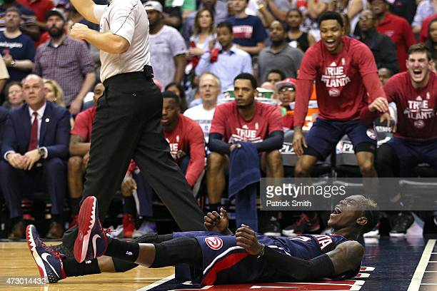 Dennis Schroder of the Atlanta Hawks reacts after being foul against the Washington Wizards during the second half in Game Four of the Eastern...
