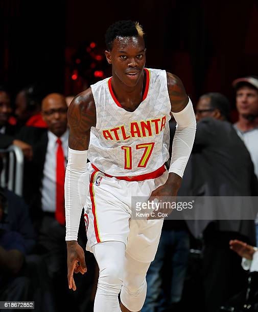 Dennis Schroder of the Atlanta Hawks reacts after hitting a threepoint basket against the Washington Wizards at Philips Arena on October 27 2016 in...
