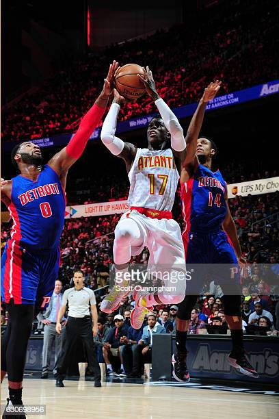 Dennis Schroder of the Atlanta Hawks shoots the ball against the Detroit Pistons on December 30 2016 at Philips Arena in Atlanta Georgia NOTE TO USER...