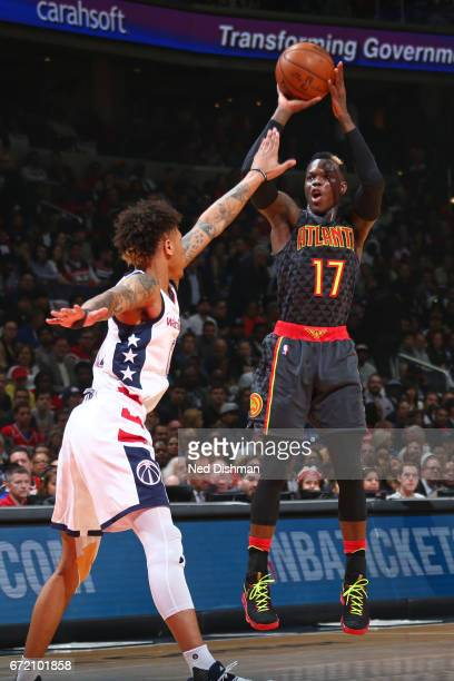 Dennis Schroder of the Atlanta Hawks shoots the ball against the Washington Wizards during the Eastern Conference Quarterfinals of the 2017 NBA...