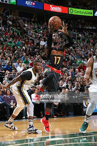 Dennis Schroder of the Atlanta Hawks shoots the ball against the Utah Jazz on March 8 2016 at vivintSmartHome Arena in Salt Lake City Utah NOTE TO...