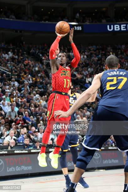 Dennis Schroder of the Atlanta Hawks shoots the ball against the Utah Jazz on March 20 2018 at vivintSmartHome Arena in Salt Lake City Utah NOTE TO...