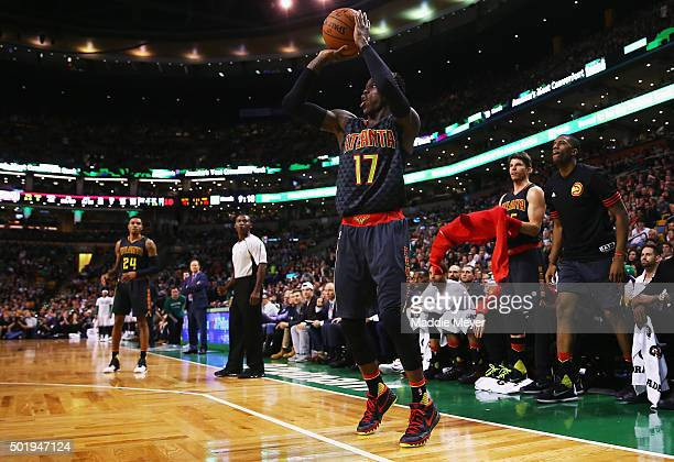 Dennis Schroder of the Atlanta Hawks takes a shot against the Boston Celtics during the third quarter at TD Garden on December 18 2015 in Boston...