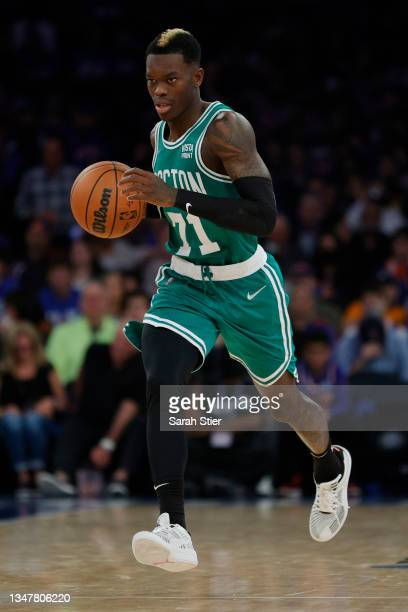 Dennis Schroder of the Boston Celtics dribbles during the second half against the New York Knicks at Madison Square Garden on October 20, 2021 in New...