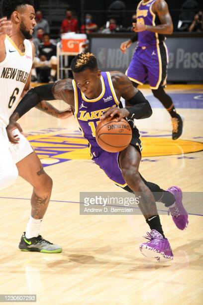 Dennis Schroder of the Los Angeles Lakers dribbles during the game against the New Orleans Pelicans on January 15, 2021 at STAPLES Center in Los...