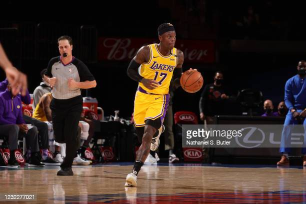 Dennis Schroder of the Los Angeles Lakers dribbles the ball during the game against the New York Knicks on April 12, 2021 at Madison Square Garden in...