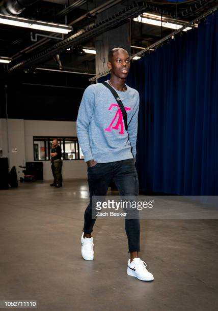 Dennis Schroder of the Oklahoma City Thunder arrives before the game against the Sacramento Kings on October 21 2018 at Chesapeake Energy Arena in...