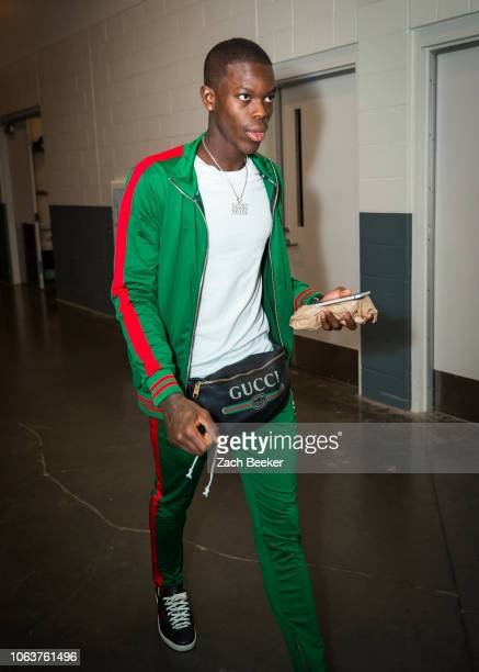 Dennis Schroder of the Oklahoma City Thunder arrives to the arena before the game against the Sacramento Kings on November 19 2018 at Golden 1 Center...