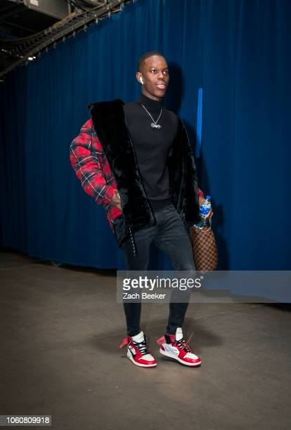 Dennis Schroder of the Oklahoma City Thunder arrives to the arena prior to the game against the Phoenix Suns on November 12 2018 at Chesapeake Energy...