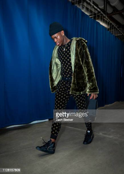Dennis Schroder of the Oklahoma City Thunder arrives to the arena prior to the game against the Philadelphia 76ers on February 28 2019 at Chesapeake...