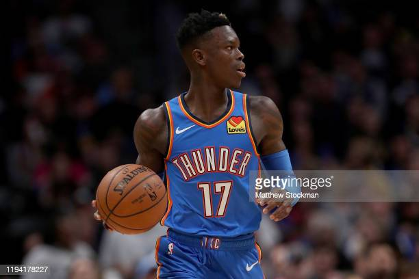 Dennis Schroder of the Oklahoma City Thunder brings the ball down the court against the Denver Nuggets at Pepsi Center on December 14, 2019 in...