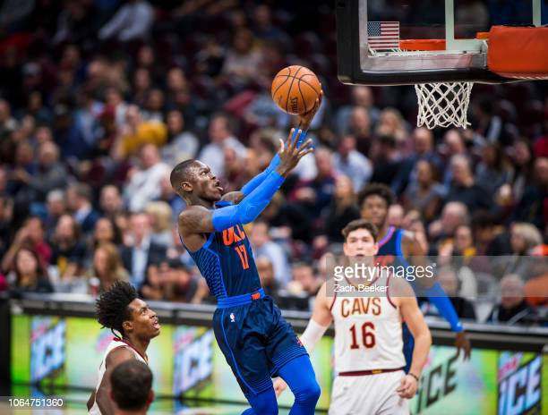 Dennis Schroder of the Oklahoma City Thunder goes to the basket against the Cleveland Cavaliers on November 7 2018 at the Quicken Loans Arena in...