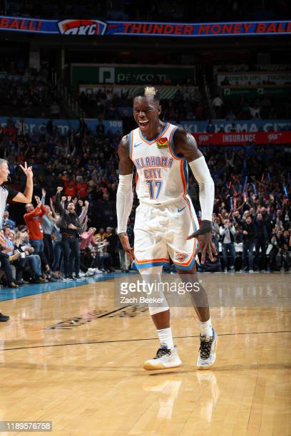 Dennis Schroder of the Oklahoma City Thunder reacts to a play during the game against the Memphis Grizzlies on December 18, 2019 at Chesapeake Energy...