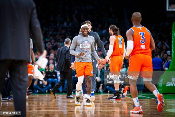 Dennis Schroder of the Oklahoma City Thunder reacts to a play during the game against the Boston Celtics on March 8, 2020 at the TD Garden in Boston,...