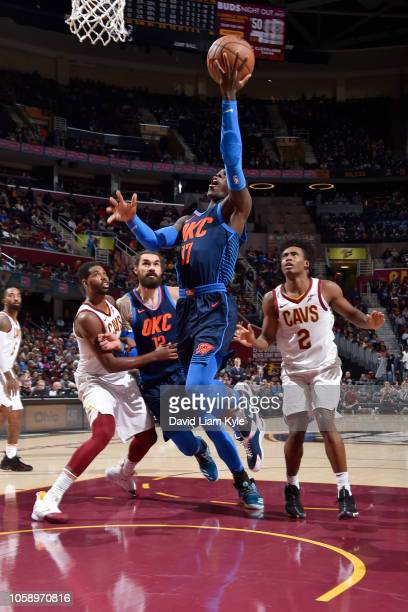 Dennis Schroder of the Oklahoma City Thunder shoots the ball against the Cleveland Cavaliers on November 7 2018 at Quicken Loans Arena in Cleveland...