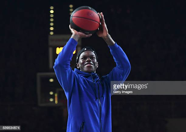 Dennis Schroeder of Atlanta Hawks shoots a charity free throw during game three of the 2016 BBL Finals between Brose Baskets and ratiopharm Ulm at...