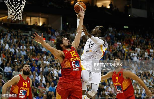 Dennis Schroeder of Germany drives to the basket against Sergio Llull of Spain during the FIBA EuroBasket 2015 Group B basketball match between...