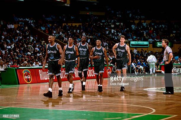 Dennis Scott Anfernee Hardaway Shaquille O'Neal Nick Anderson and Jeff Turner of the Orlando Magic return to the court during a game played circa...