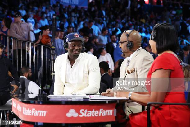 Dennis Scott interviews Zion Williamson drafted by the New Orleans Pelicans during the 2019 NBA Draft on June 20, 2019 at the Barclays Center in...