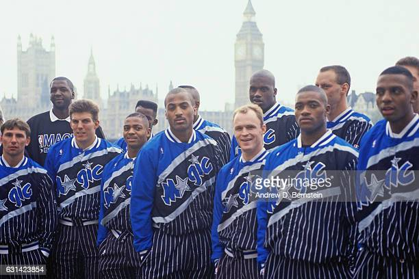 Dennis Scott of the Orlando Magic and the team takes a team photo prior to the game against the Atlanta Hawks during the 1993 London Games on October...