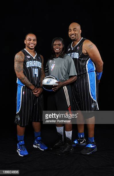 Dennis ScottJameer Nelson and Marie FerdinandHarris of Team Orlando pose for a portrait prior to the Haier Shooting Stars Competition as part of 2012...