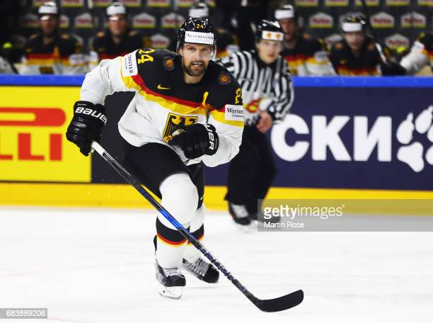 Dennis Seidenberg of Germany in action during the Germany v Latvia match of the 2017 IIHF Ice Hockey World Championships at Lanxess Arena on May 16...