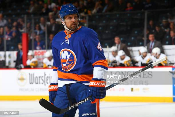 Dennis Seidenberg of the New York Islanders skates against the Pittsburgh Penguins at Barclays Center on March 20 2018 in New York City New York...