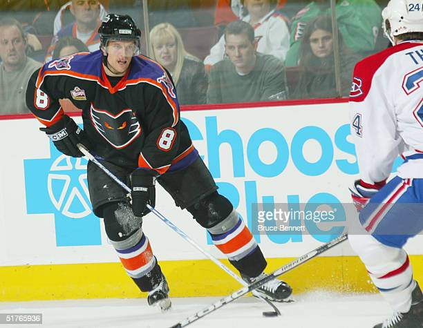 Dennis Seidenberg of the Philadelphia Phantoms stops along the wing and looks to make a play against the Hamilton Bulldogs during the American Hockey...