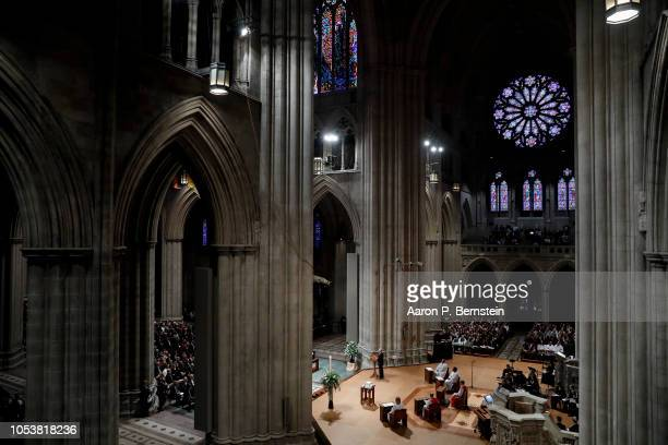 Dennis Shepard speaks during a memorial service for Matthew Shepard at the National Cathedral on October 26 2018 in Washington DC Shepard a gay man...