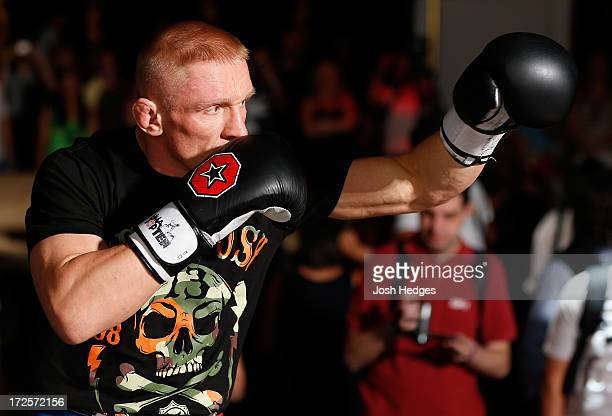 Dennis Siver holds an open training session for media and fans inside XS The Nightclub at Encore Las Vegas on July 3, 2013 in Las Vegas, Nevada.