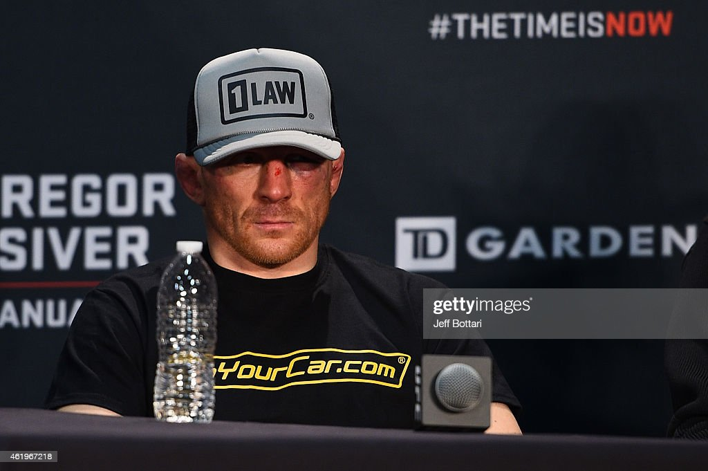 Dennis Siver of Germany sits at the post fight press conference during the UFC Fight Night event at the TD Garden on January 18, 2015 in Boston, Massachusetts.