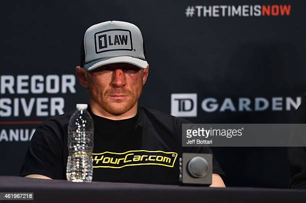 Dennis Siver of Germany sits at the post fight press conference during the UFC Fight Night event at the TD Garden on January 18 2015 in Boston...