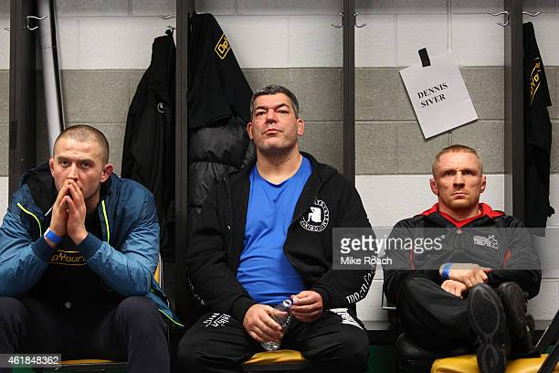 Dennis Siver of Germany sits backstage before facing Conor McGregor during the UFC Fight Night event at the TD Garden on January 18 2015 in Boston...
