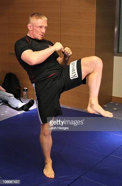 Dennis Siver of Germany works out at the UFC 122 open workouts at the Hilton Hotel on November 10 2010 in Dusseldorf Germany