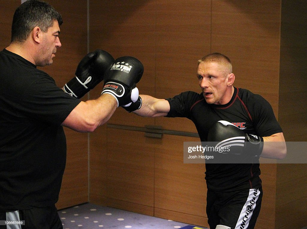 Dennis Siver of Germany (R) works out at the UFC 122 open workouts at the Hilton Hotel on November 10, 2010 in Dusseldorf, Germany.