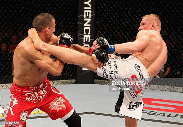 Dennis Siver of Russia kicks George Sotiropoulos of Australia during their Lightweight bout at UFC 127 at Acer Arena on February 27 2011 in Sydney...