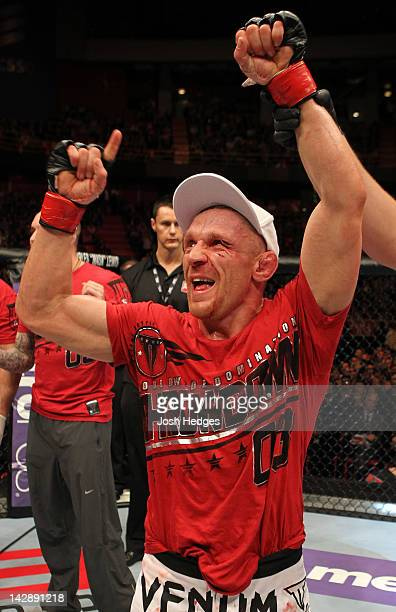 Dennis Siver reacts after defeating Diego Nunes in a featherweight bout at the UFC on Fuel TV event at Ericsson Globe on April 14 2012 in Stockholm...