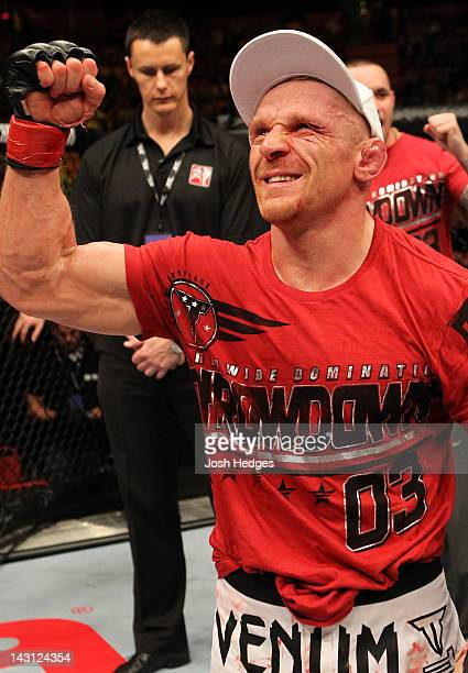 Dennis Siver reacts after defeating Diego Nunes in a featherweight bout at the UFC on Fuel TV event at Ericsson Globe on April 14, 2012 in Stockholm,...